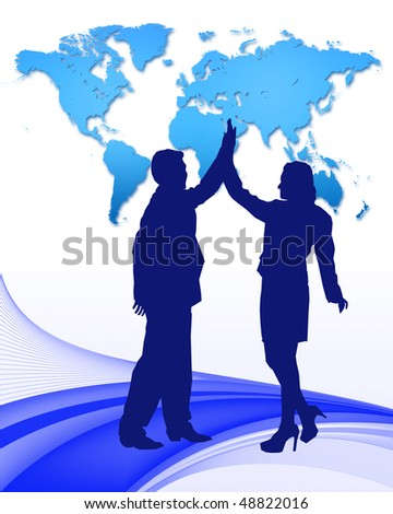high five successful business deal with abstract pattern and world map - stock photo