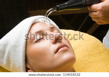 High frequency treatment for skin to sterilization - stock photo