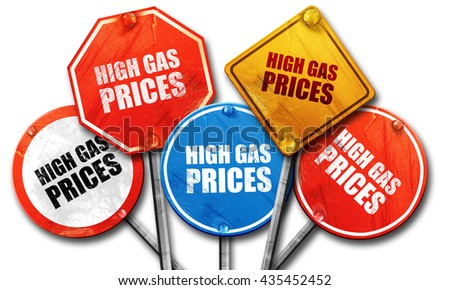high gas prices, 3D rendering, street signs - stock photo