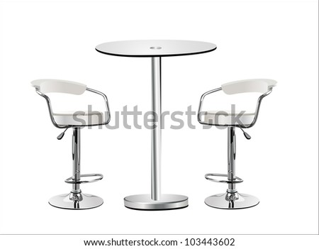 High Glass Top Table W Chairs On White Background.