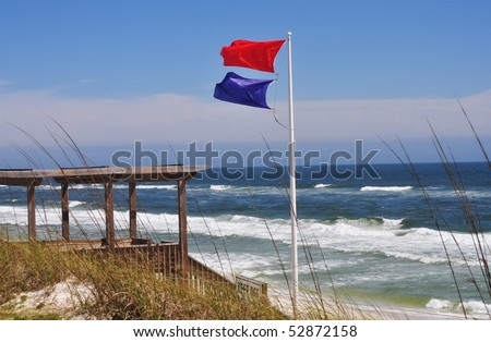 High hazard and dangerous marine life warning flags at Seagrove Beach, Florida