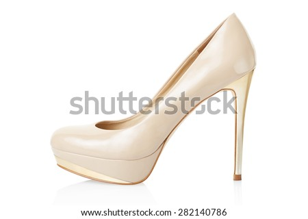 High heel beige elegant shoe isolated on white, clipping path included  - stock photo