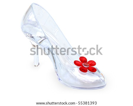 High heel female shoe of crystal glass with red flower on white background. High resolution 3D image - stock photo