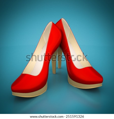 High heel shoes on a blue background