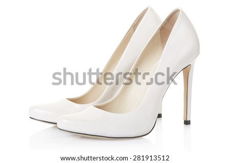 High heel white shoes pair isolated on white, clipping path included  - stock photo