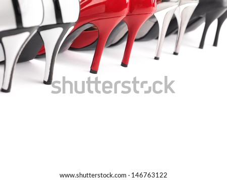 High heel womens shoes closeup of heels - stock photo