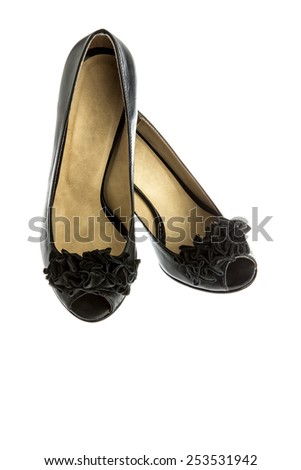 high heeled black shoes on white - stock photo
