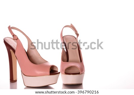 High Heels with peep toe and ankle-strap - stock photo