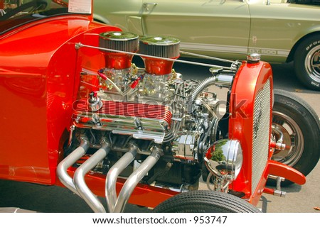 High horsepower engine in a classic american car. - stock photo