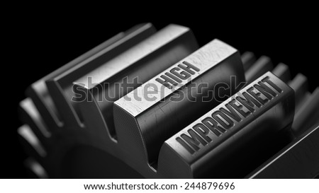 High Improvement on the Metal Gears on Black Background.  - stock photo