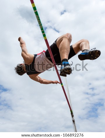 high jump in track and field - stock photo