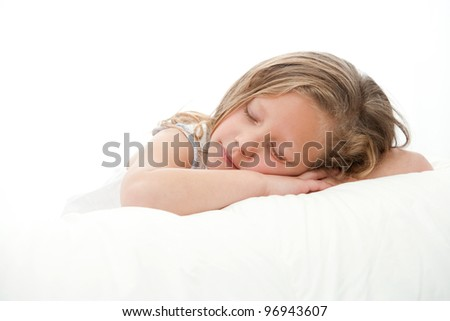 High key Close up portrait  of cute little girl sleeping. Isolated on white background. - stock photo