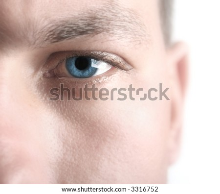 High key image showing sharp blue eye with softened skin to allow for copy space. Short DOF - stock photo