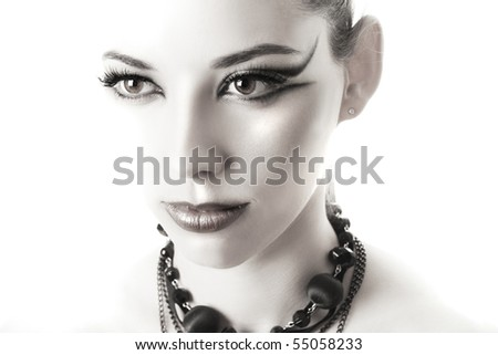 High-key light woman portrait - stock photo