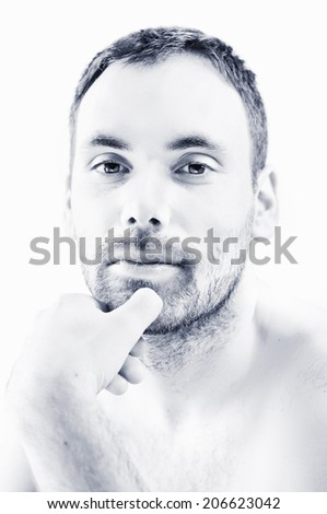 high key portrait of a handsome man - stock photo