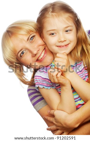 High key portrait of a little girl with her happy mom isolated on white - stock photo