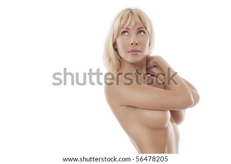 High key portrait of young beautiful woman on white  back