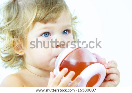 High key portrait of young blue eyed baby - stock photo