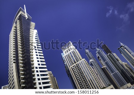high luxury blue building skyscraper - stock photo