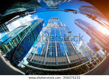High modern skyscrapers over blue sky in Moscow, Russia - stock photo