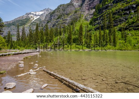 High Mountain Lake - A spring view of Avalanche Lake at Glacier National Park, Montana, USA.  - stock photo