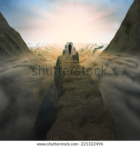 High mountain path above the clouds - stock photo