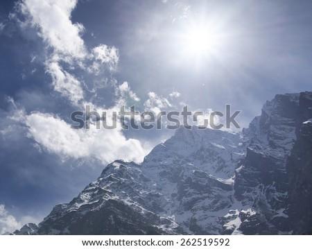 High mountain peak during sunrise. Natural landscape  - stock photo