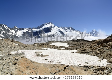 High mountain range in Southern Alps, NZ. - stock photo