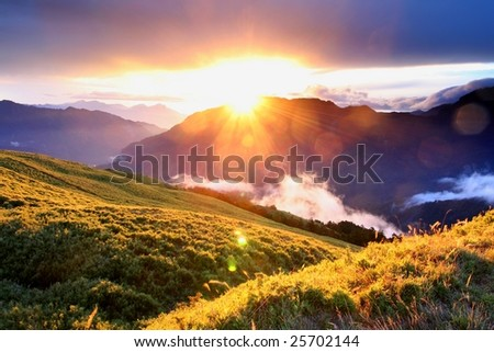 high mountain with sunrise