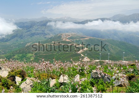 High mountains and deep valleys on the island of Crete, Greece - stock photo