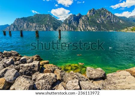 High mountains and Lake Garda,Torbole,Italy,Europe - stock photo