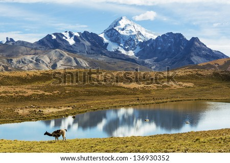 High mountains in Bolivia - stock photo