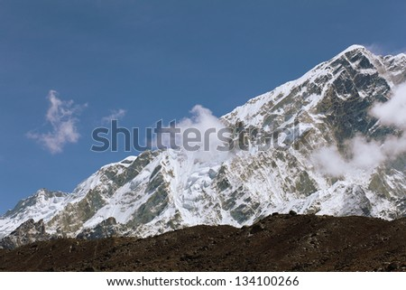 High mountains in cloud. Nepal. Everest