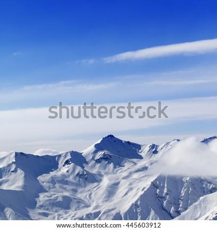 High mountains in winter. Caucasus Mountains, Georgia, region Gudauri. View from ski slope. - stock photo