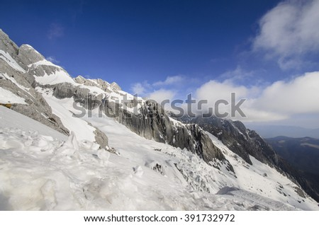 High mountains under fresh snow in the winter season