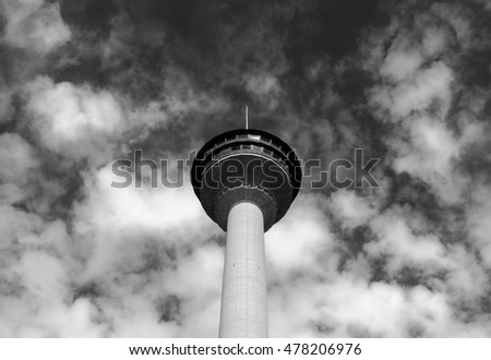 High observation tower view with the clouds sky black and white background