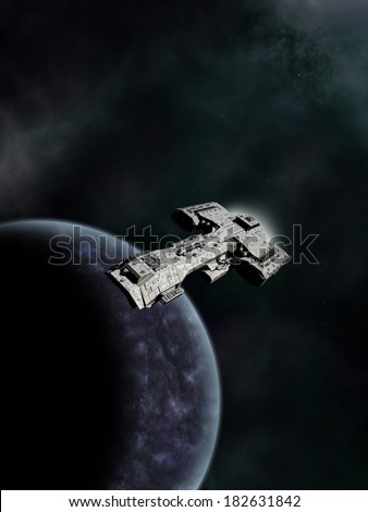 High Orbit. Science fiction spaceship in high orbit above an alien world, 3d digitally rendered illustration - stock photo