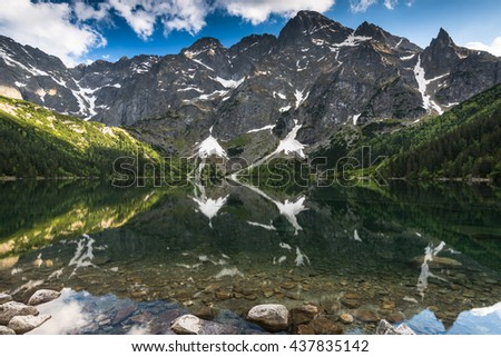 High peks reflection in alpine lake surface in Tatra Mountains,Poland. - stock photo