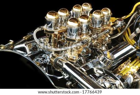 High performance muscle car engine - stock photo