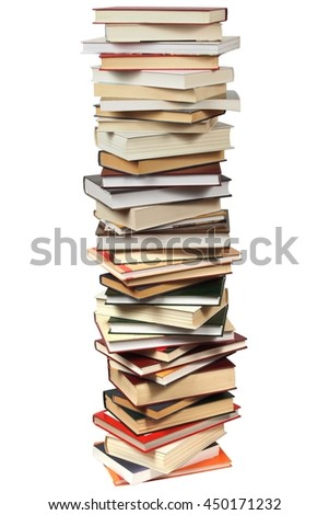 High pile of books isolated on white background