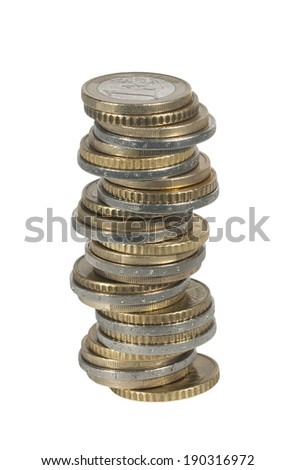 High pile of gold and silver coins euro - stock photo