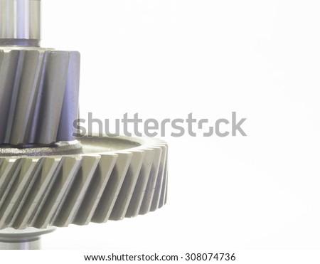 high precision automotive steel gear parts close-up - stock photo