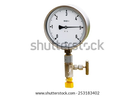 High pressure reading on gas wellhead isolated on white - stock photo