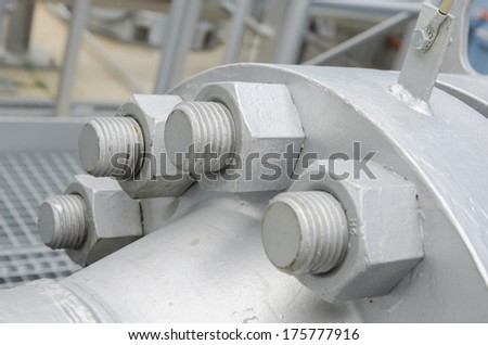 High pressure steel pipe connection - stock photo