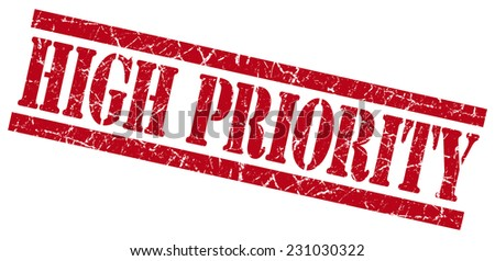 high priority red grungy stamp on white background - stock photo