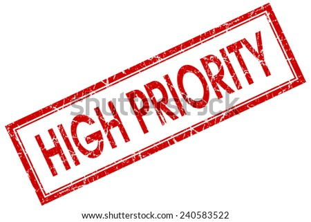 high priority red square stamp isolated on white background - stock photo