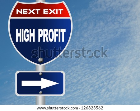 High profit road sign - stock photo