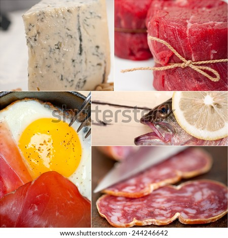 high protein food collection collage nested on white frame - stock photo