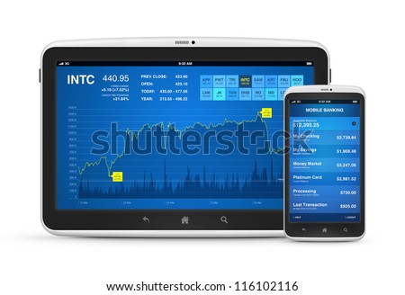 High quality and very detailed realistic illustration of stock market data and mobile banking interface application on modern digital tablet with mobile android smartphone. Isolated on white. - stock photo