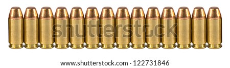 High quality bullets on a white isolated background - stock photo